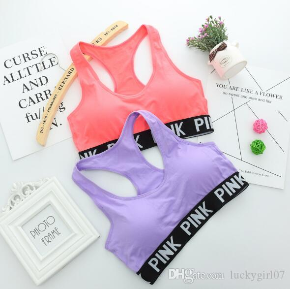 Hot Women Yoga Bra Padded Shirts Vest Breathable Running Fitness Gym Sports PINK Letter Seamless Fitness Underwear Ladies Tank Crop Tops