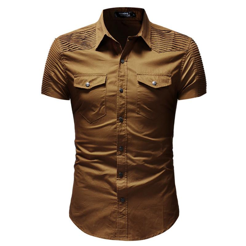 9085e810dbc 2019 Mens Fashion Shirts New Pleated Short Sleeve Men Designer Casual Shirt  Camisa Masculina Chemise Homme Male Tops 3 Colour From Cety