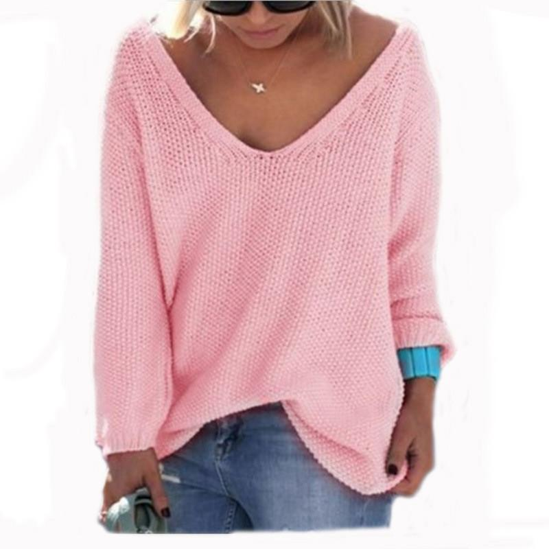 af8825425 Women Oversized Pullovers Solid Color V Neck Sweater Tops Sexy Long Sleeve  T Shirts Outwear Autumn Knitwear Loose Casual Jumpers Pullover Baby Sweater  ...
