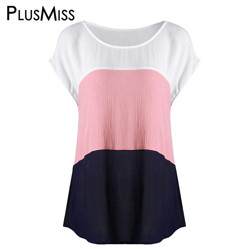 012cc9cbf7a PlusMiss Plus Size 5XL 4XL Color Patchwork Casual T-shirt Women Big ...