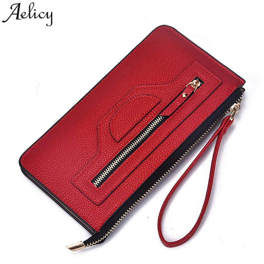 92eaca02f Compre Aelicy Bag Lady Mujer Monederos Largos Monederos De Cuero Monedero  Niñas Vintage Dinero Bolsa De Maquillaje Marca De Lujo Billetera Mini  Teléfono A ...