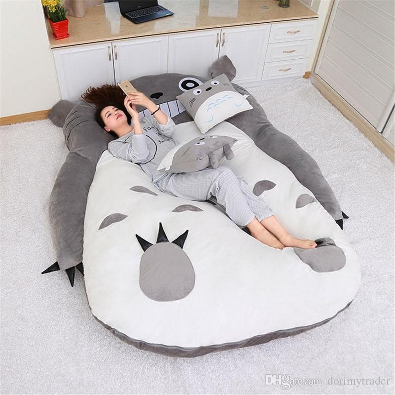 Dorimytrader Anime Totoro Sleeping Bag Soft Plush Large Cartoon Totoro Sofa Bed Tatami Beanbag for Children Gift Room Decoration DY50224