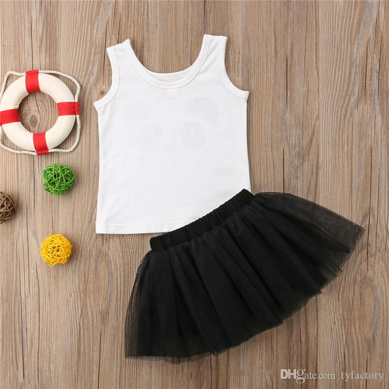 Panda Kids Girls Black Dresses Outfit Clothes Two-piece Set Vest + Skirt Baby Clothing Sundress Party Summer Princess Baby Dress 6M-4Y