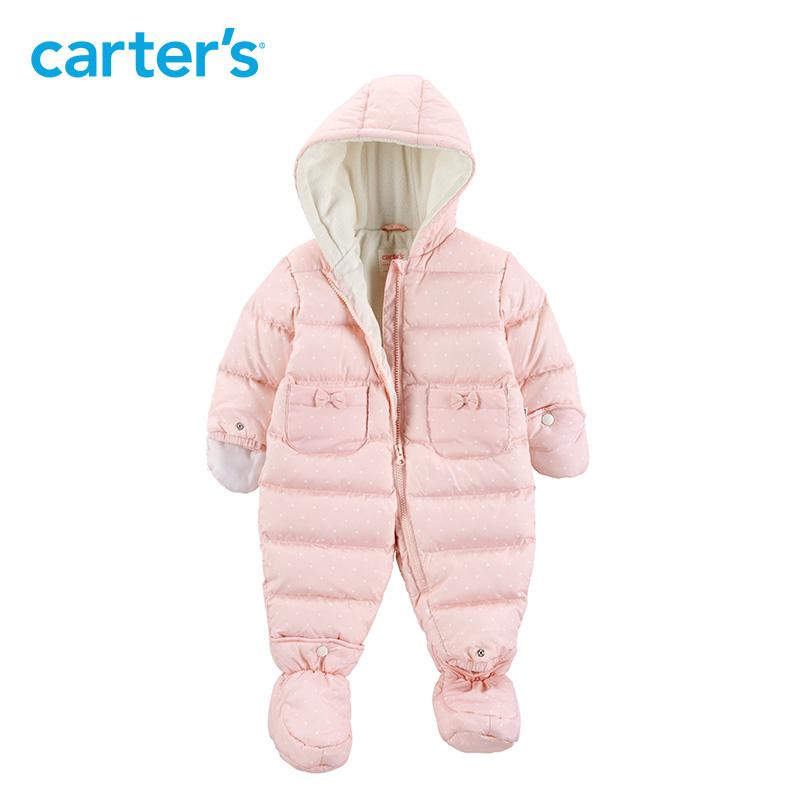 f861f9a9c3ab Winter Overalls Baby Girl Clothes Snow Wear Long Hooded Footies ...