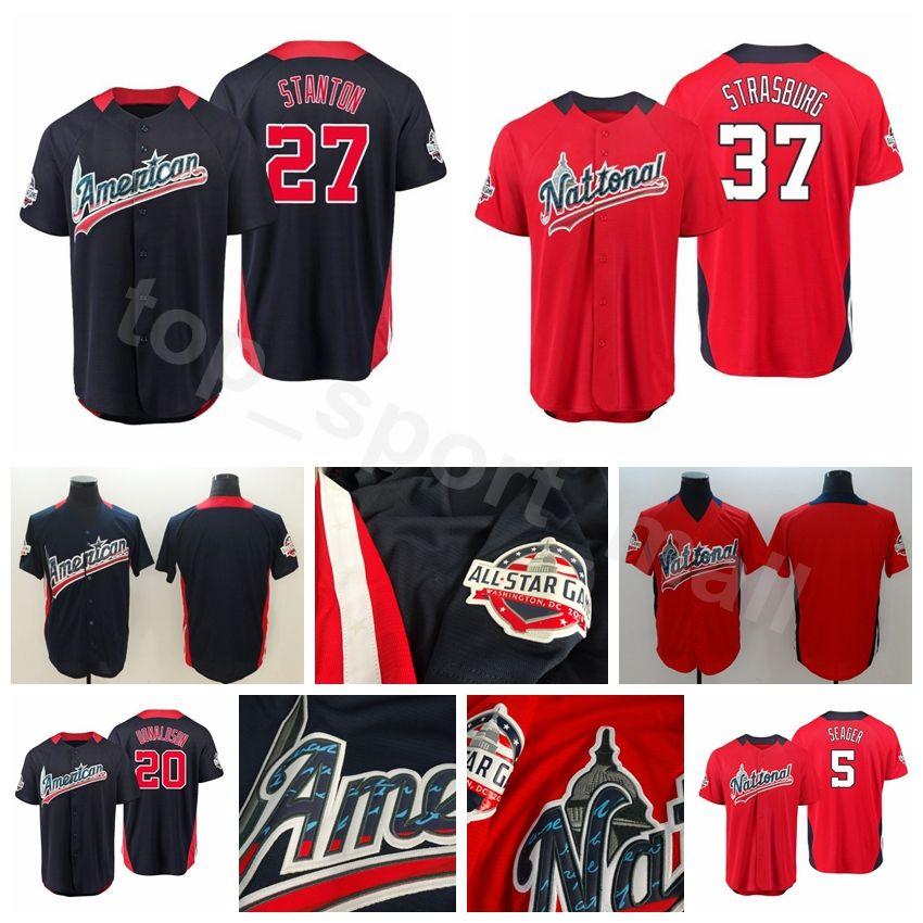 2019 2018 All Star American National League World USA Baseball Jerseys  Custom 27 Jose Altuve 12 Francisco Lindor 5 Corey Seager 20 Josh Donaldson  From ... b42af1f4a903