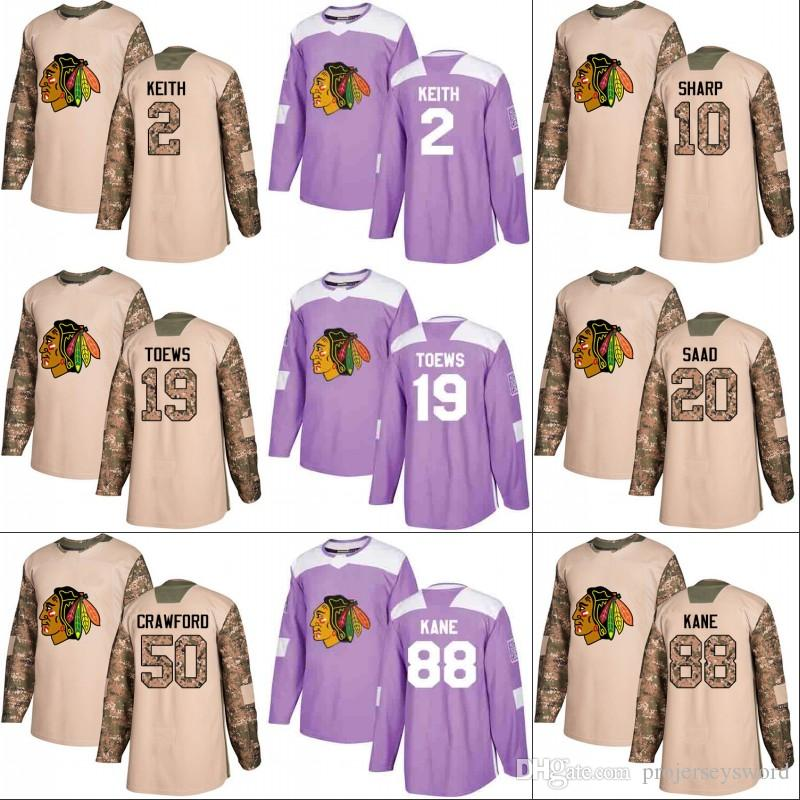bbad4ec38 Chicago Blackhawks Jersey Veterans Day Fights Cancer Practice 2 Duncan  Keith 19 Jonathan Toews 50 Corey Crawford 88 Patrick Kane Jerseys UK 2019  From ...