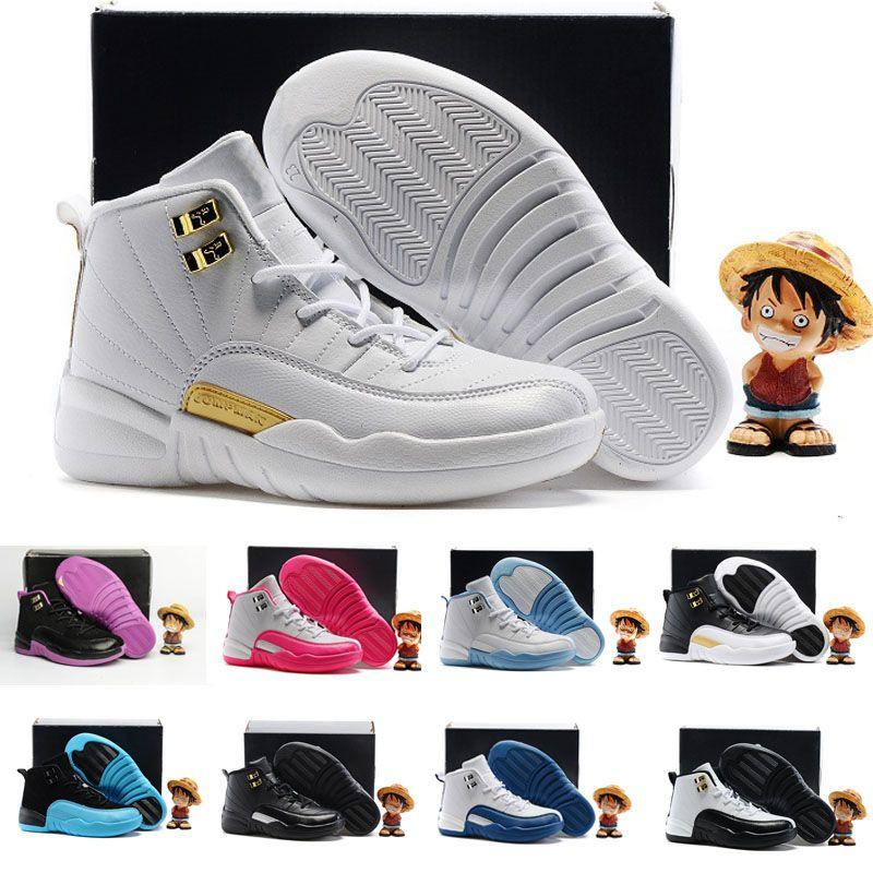 uk availability 233db 2ba99 Acquista Nike Air Jordan 6 11 12 Retro XII 12 Gamma Blu Francese Blu San  Valentino Wolf Grey Scarpe Da Basket Bambini KID 12s Bambini Moda Casual  Sneakers ...