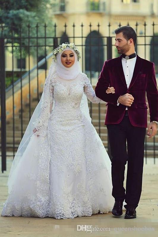 Robes de mariée Vintage robes de mariage arabes musulmans avec détachable train dentelle appliqued manches longues robes de mariée Hijab