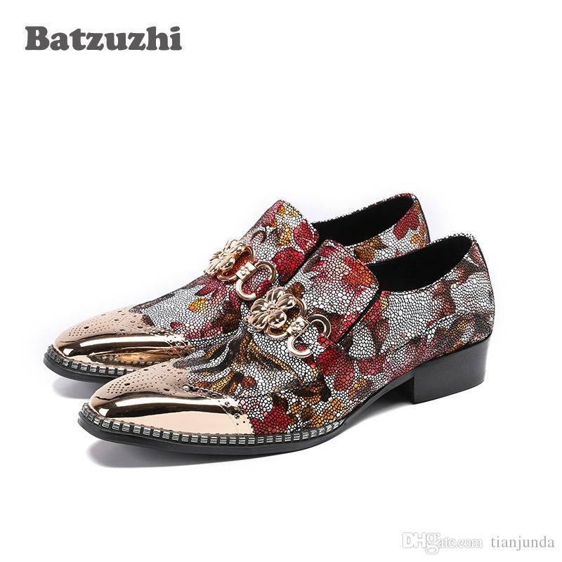 Compre Batzuzhi Brand Itlian Style Hombre Zapatos Strass Hombre Zapatos De  Vestir Oro Metal Zapatos De Cuero Dedo Del Pie Hombre Hombre Diseñador Zapatos  De ... b90c8b6e684