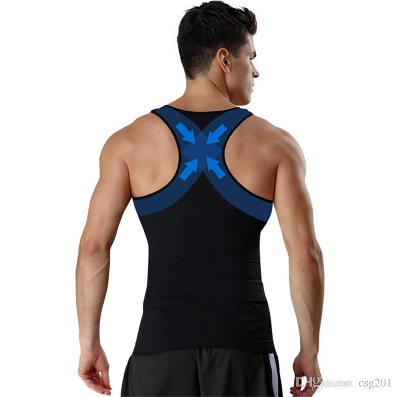 c6bc59445a29d7 2019 Men Body Shapers Slimming Vest Compression Tank Top Undershirt  Sleeveless Waist Trainer Abdomen Slim Belt Belly Reduce Corset From Csg201