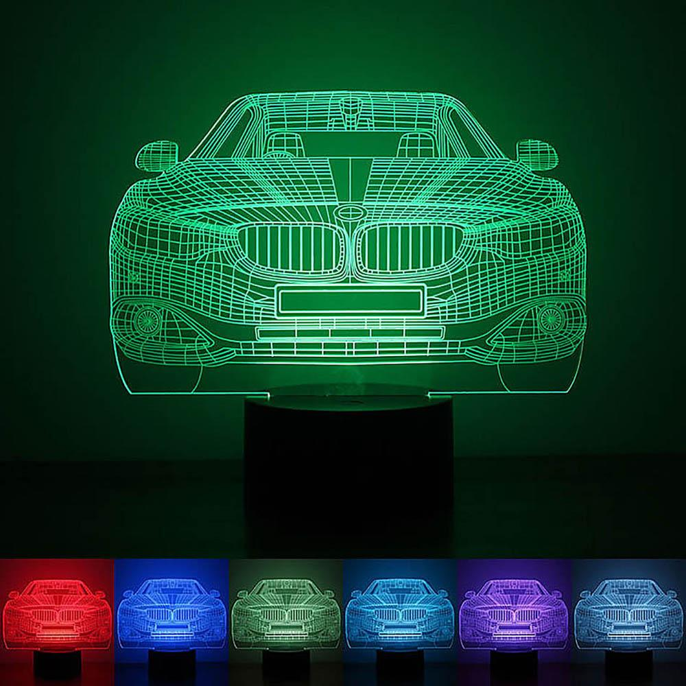 Car Modeling Atmosphere Lamp 3d Led Nightlight Festival Lantern Christmas Gift Decoration Supply Glow Accessory Party Favors