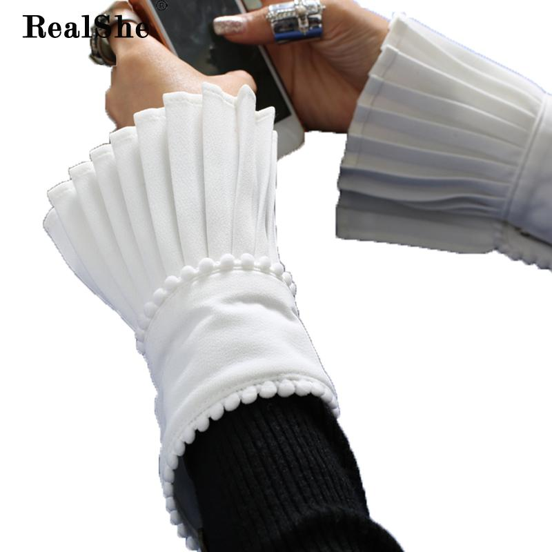 56e09083e 2019 RealShe 2018 Winter Arm Warmers Women Hand Warmer Ruffles Fingerless  Short Gloves Dark Button Arm Sleeve Pleated Warmer From Herberta, $23.31 |  DHgate.