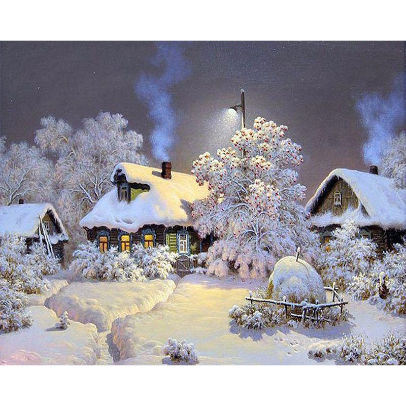 Satın Al Toptan Güzel Kar Kış Iğne 5d Elmas Boyama Manzara Elmas