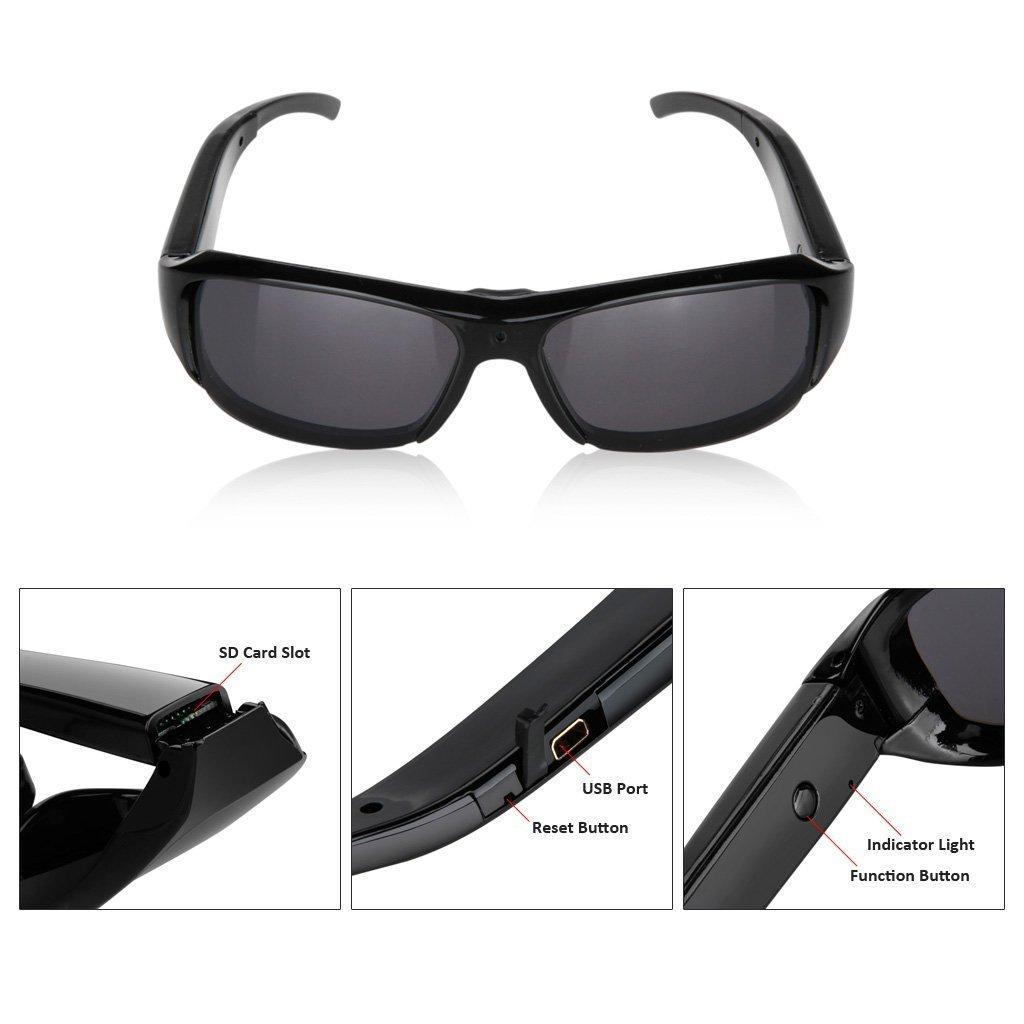 Occhiali da sole Camera Mini Eyewear Recorder Videocamera di sicurezza Pinhole Occhiali DV Video Audio DV gli sport all'aria aperta