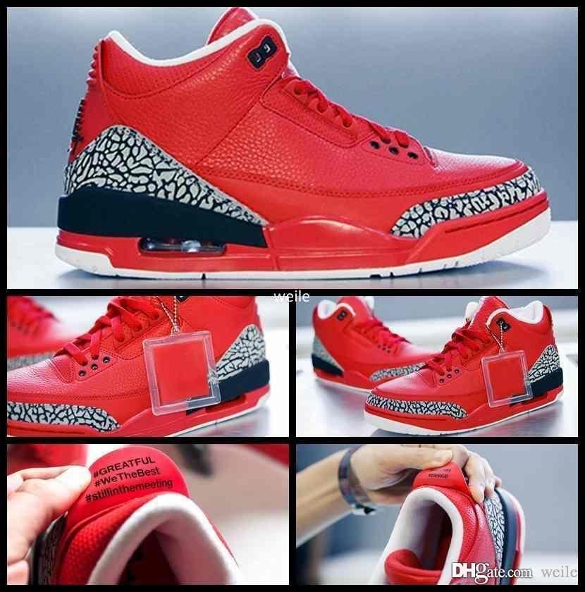 sale retailer 4af06 c4f24 2017 X DJ Khaled Grateful PE 3 Basketball Shoes For Men Fire Red 3s Mens  Basket Ball Sports Sneakers