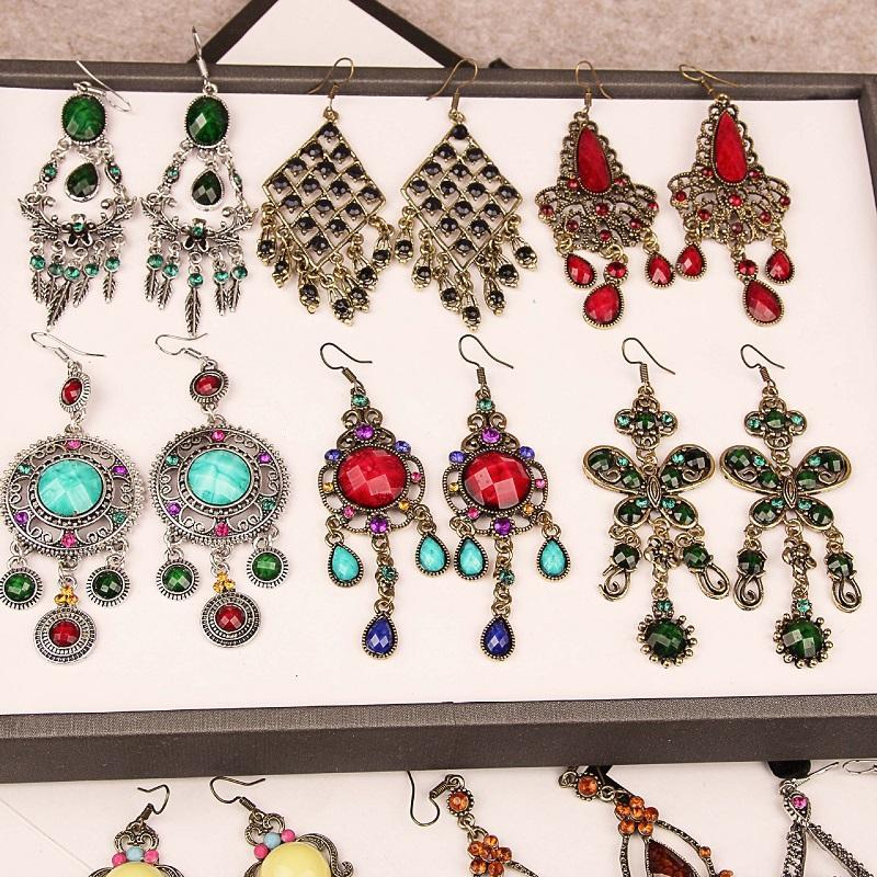 Bohemia Étnico Retro Pendientes Gancho Cuelgan Múltiples Estilos Pendientes de Diamantes Aleación Para Mujer Vintage Nacional Pendientes Colgantes Cuelgan Mezclado