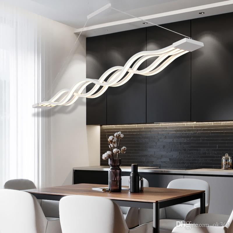 Modern LED Pendant Lights Wave Hanging Lamp Dining Room Living Light S Line Led Suspending Fixture Lighting String
