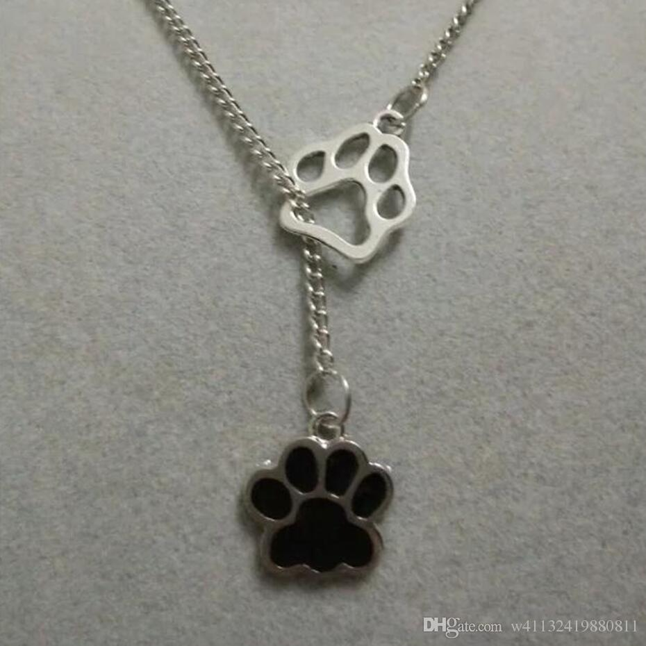 Bear/Cat/Dog paw Enamel Dog paw prints Fashion Charms Antique Silver Greyhound Dog Pendant Necklace Suspension Jewelry Gift-37