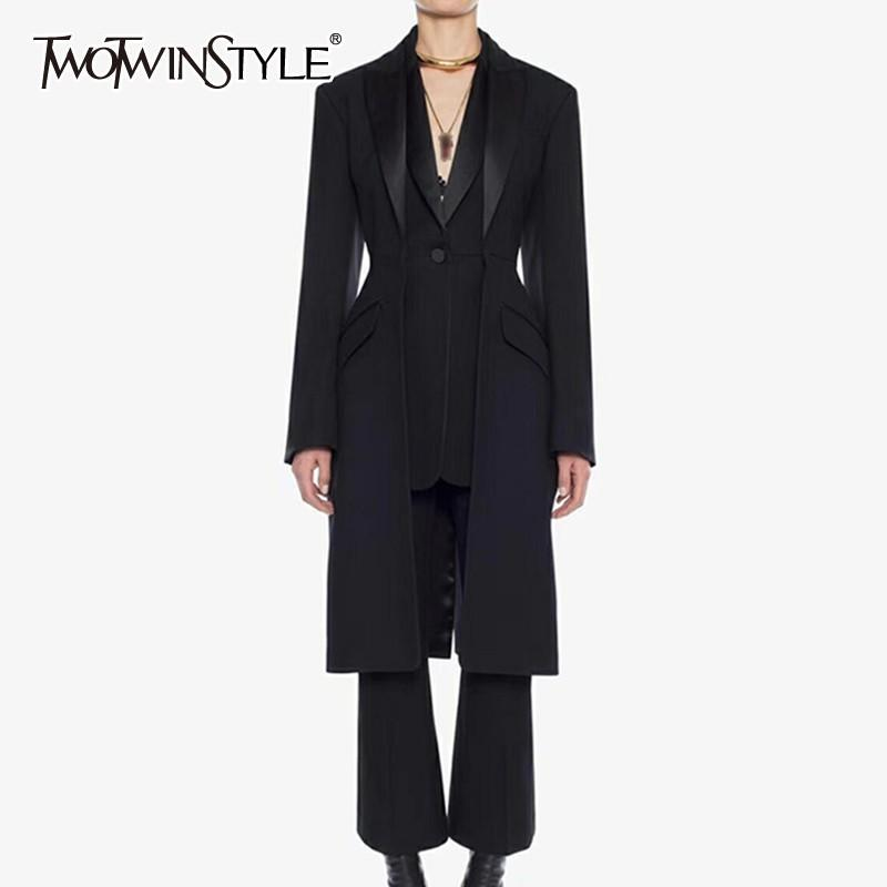 2018 Twotwinstyle Black Blazer For Women Coat Patchwork Double Layer