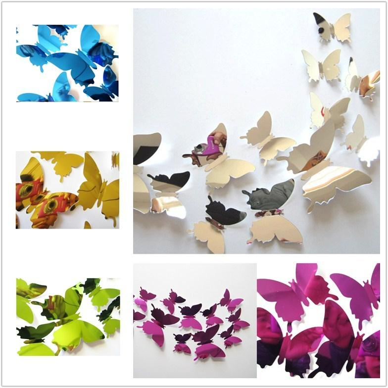 new mirror 3d butterfly wall stickers party wedding decor diy home