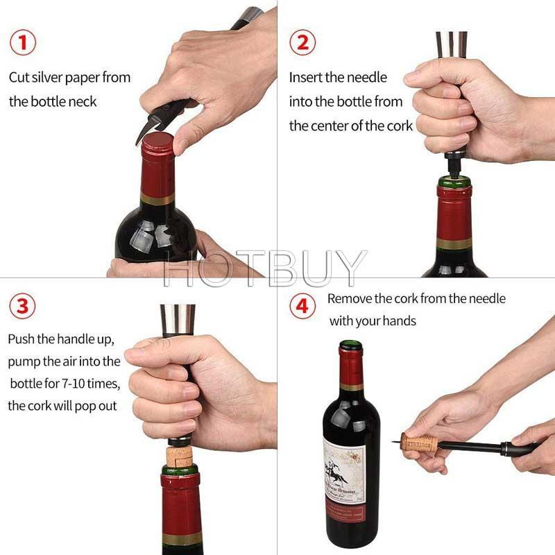 Red Wine Bottle Air Pressure Opener Cork Popper Pump Corkscrew Cork Foil Cutter Wine Openers #4455