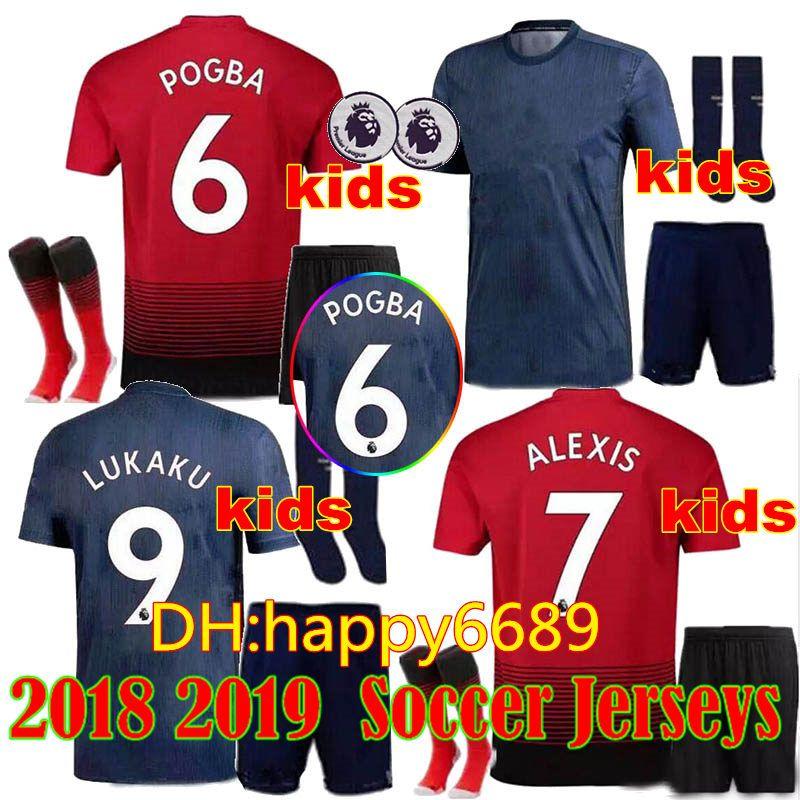 6efff881e 2018 2019 KIDS KIT ALEXIS 7 Soccer Jersey Wear SHORTS + SOCKS 18 19 POGBA  LUKAKU JERSEY THIRD AWAY Blue Child BOY CAMISETA DE FUTBOL UK 2019 From  Happy6689