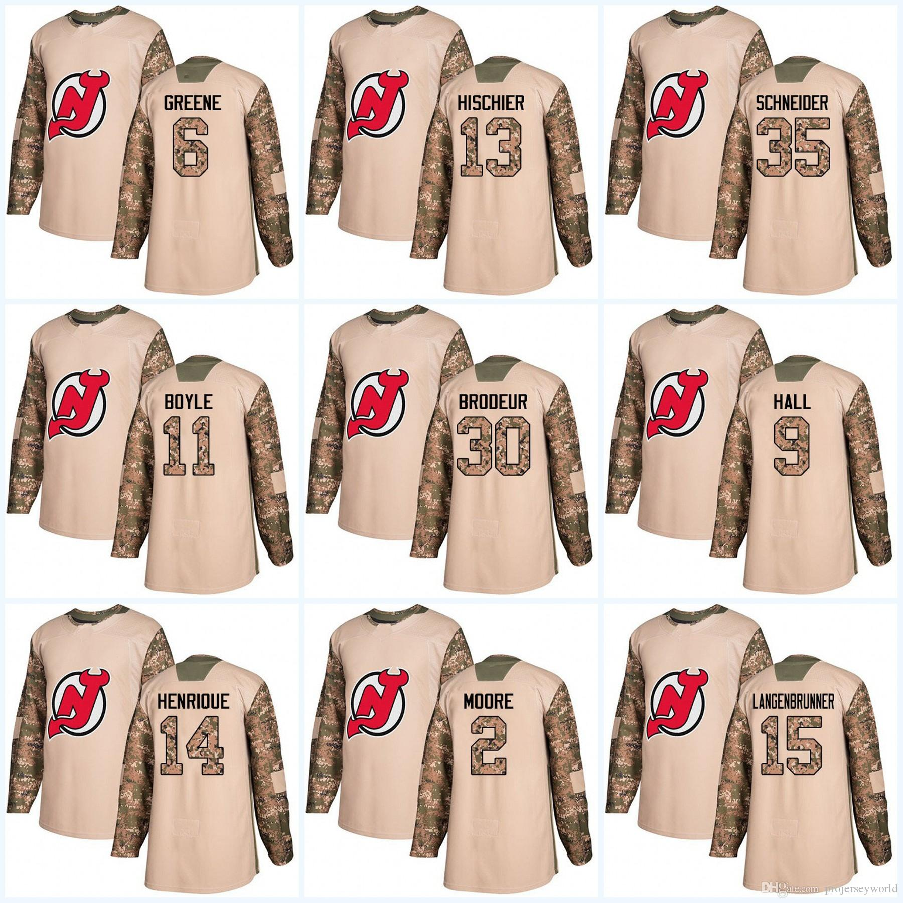 Youth 2017 Camo Veterans Day New Jersey Devils 30 Martin Brodeur 9 ... 592955f09