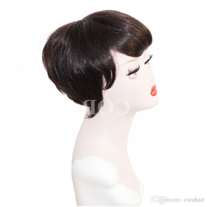 2017 Fashion African Hair Cut Style Short Black Wigs Pixie Cut Wigs For Black Women Short Virgin Full Lace Front Bob Wigs