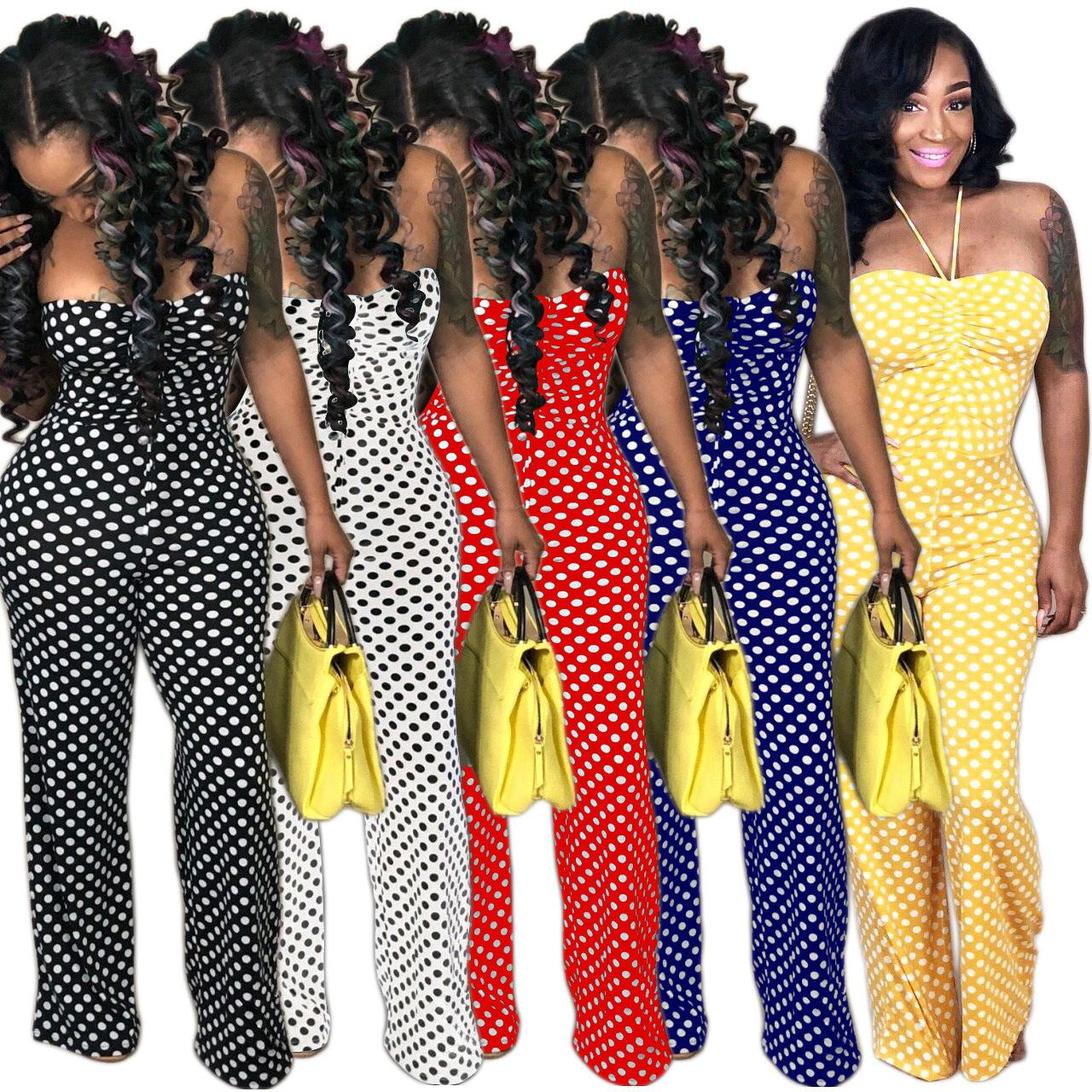 f8e9de63610b 2019 Women Polka Dot Strapless Jumpsuits Stretchy Chest Wrap Wide Leg Casual  Long Print Party Jumpsuit Romper Sexy Club Wear From Hengytrade