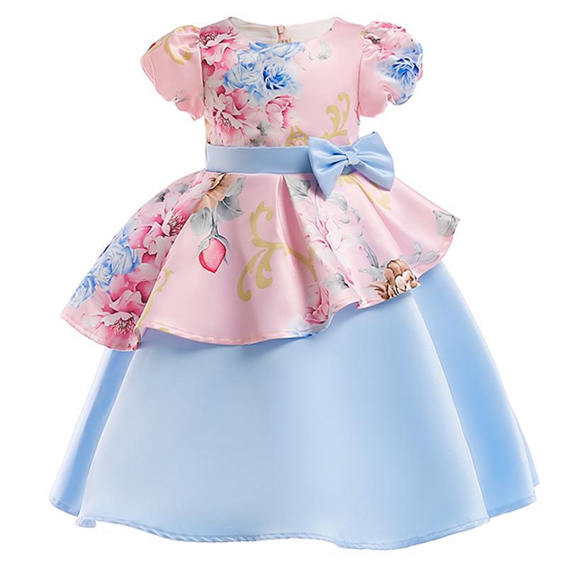 b93764e74b25d flower girl dresss 2-10T children girl flower dresses baby girl leaves  print birthday party dress children fancy princess ball tutu dress