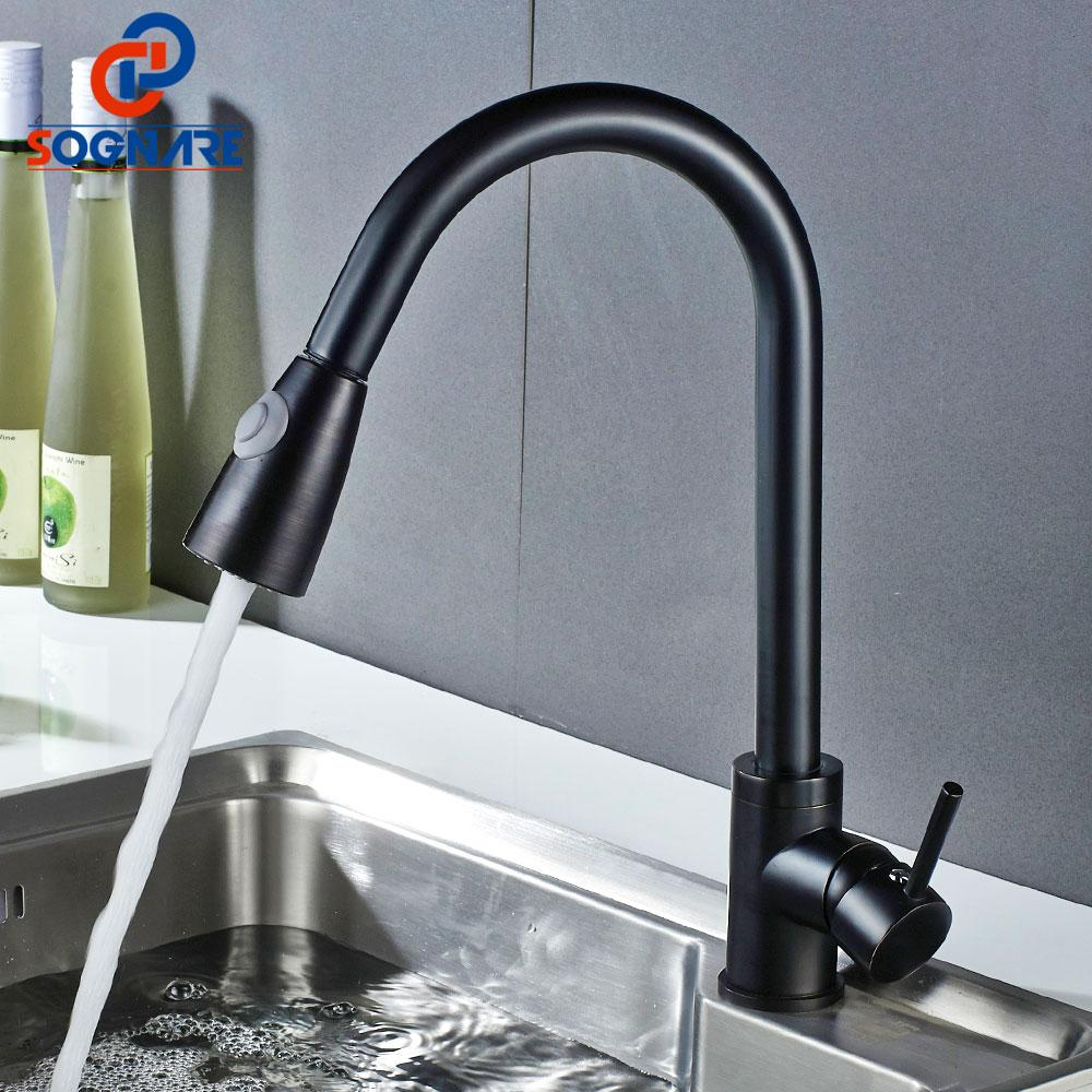 2018 Sognare Pull Out Kitchen Sink Faucet Single Handle Kitchen Tap ...