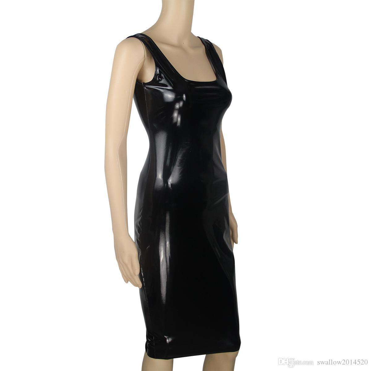 Sexy cosplay Women Black Sexy Leather Dress Latex Club Wear Costumes Clothing PVC Lingerie Catsuits Cat Suits Sex Products