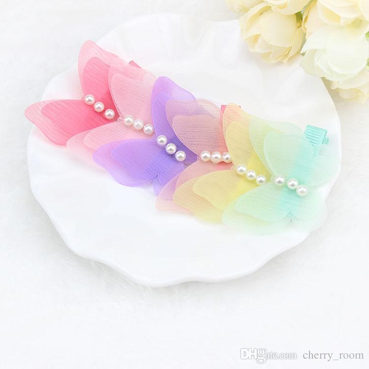 귀여운 나비 머리 나비 새로운 한국어 어린이 여자 barrettes 부티크 헤어 리본 활 진주 무지개 색 아이 머리카락 accessorie 7420