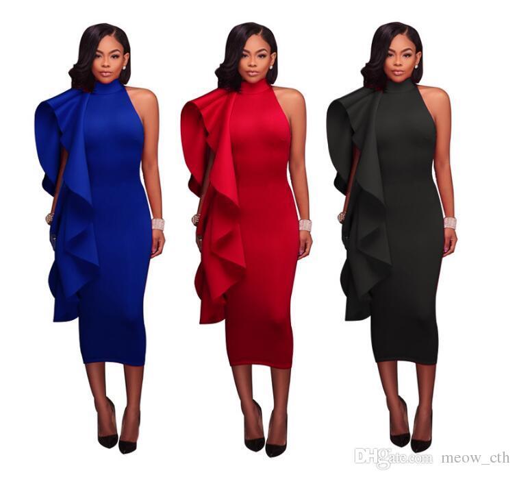 Vestito aderente con balza con maniche aderenti 2018 Nuovo vestito senza maniche con cerniera aderente con maniche corte Abito da donna con volant