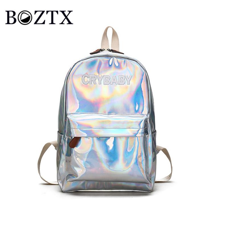 761bff0203 Hot Mini Travel Bag Silver Blue Pink Laser Backpack Women Girls Bag PU  Leather Holographic Backpack School for Teenage Girls