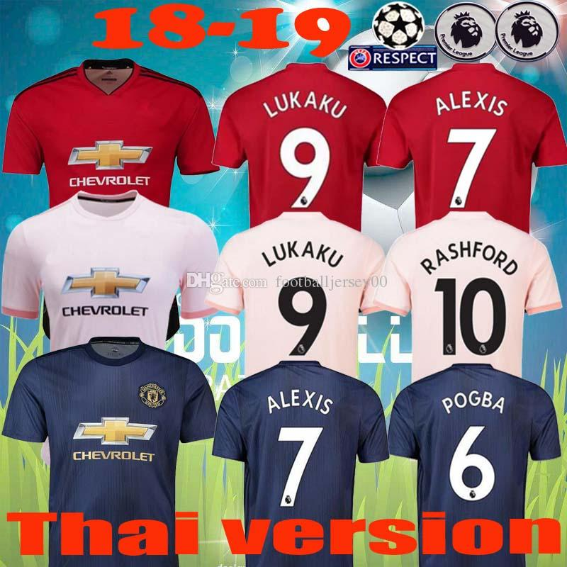 check out 49012 8dbab 18 19 LUKAKU ALEXIS MAN AAA Thailand quality UTD soccer jersey 2019 POGBA  MARTIAL LINGARD MATA MATIC RASHFORD SMALLING United football shirt