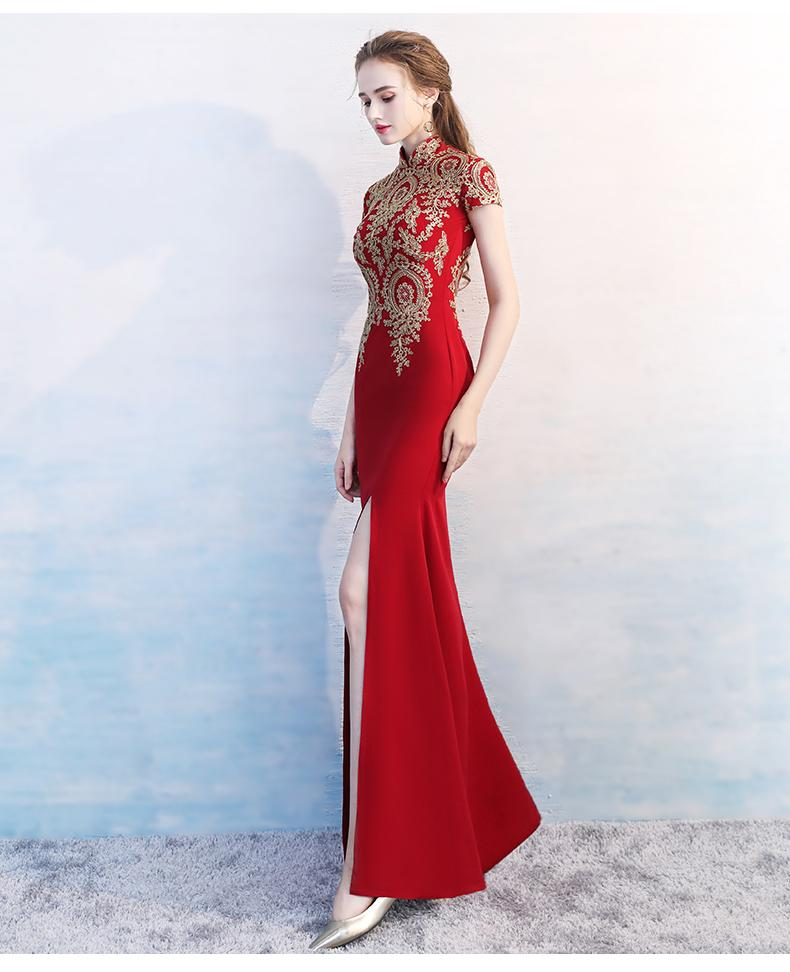 Elegant Improved High Neck Embroidery Qipao Split Red Burgundy Floor-Length Mermaid Evening Gowns Chinese Traditional Dress Party Dress D27
