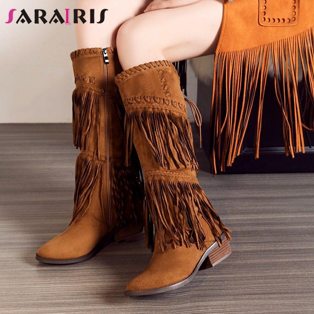 9cb3efde2fa SARAIRIS 2019 Chunky Heels Fringe Shoes Woman Zip Up Knee High Boots Women  Shoes Large Size 33 43 Winter Boots Woman Designer Shoes Rain Boots For  Women ...
