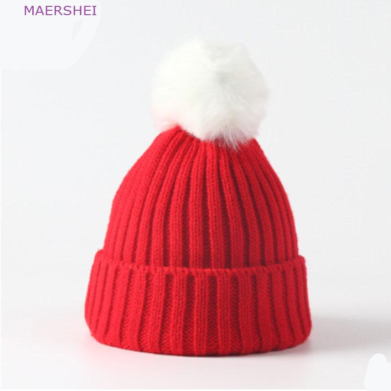 ec40965e7e3 2019 MAERSHEI 2018 Children S Knit Hat With Ball Candy Color Wool Cap Men  And Women Baby Cute Head Cap Autumn And Winter Warm Hat From Qingfengxu