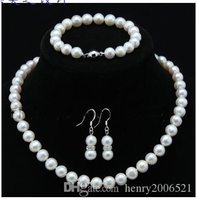 wedding gift Noble 7-8mm saltwater white /black/pink pearl bridal necklace bracelet earring 3piece set