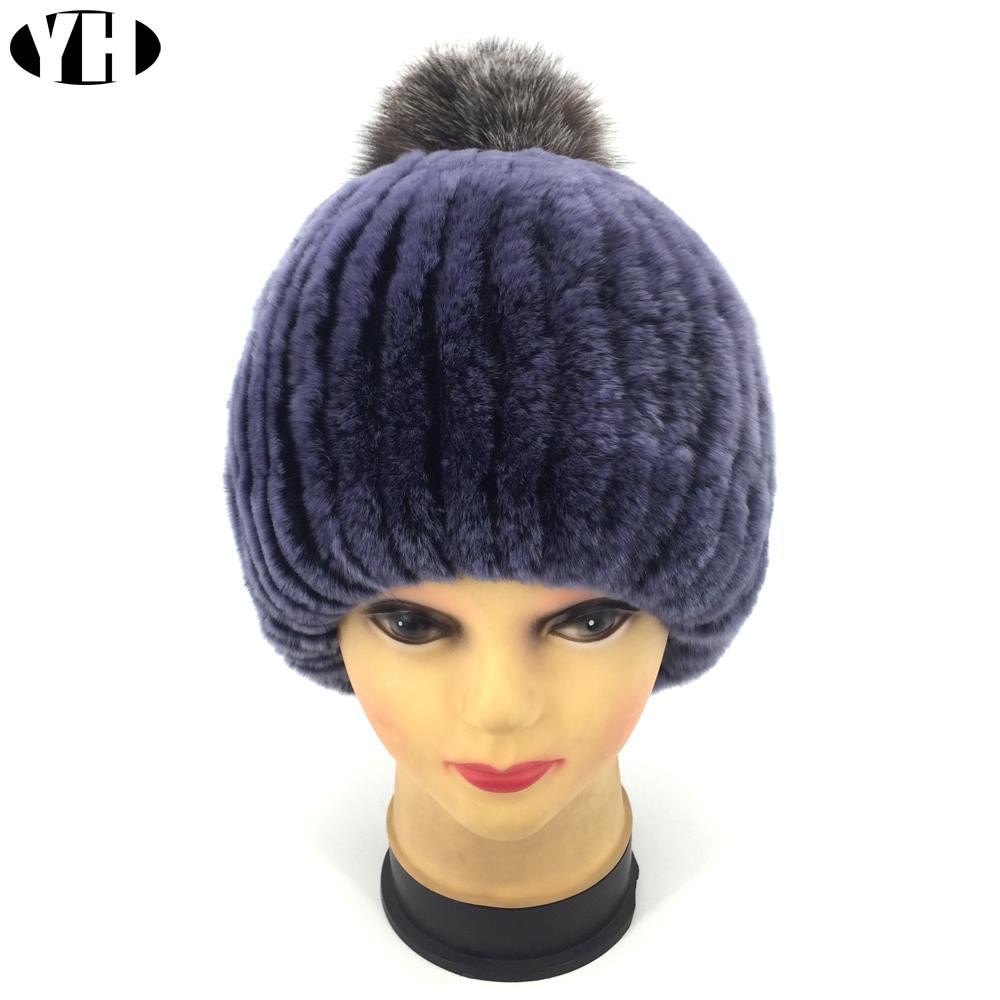 f2c721beb8f52 2018 Winter hat Women Real Rex Rabbit Fur cap lady Real Rabbit+Fox Fur  Beanies Elastic Warm Fashion female brand headgear