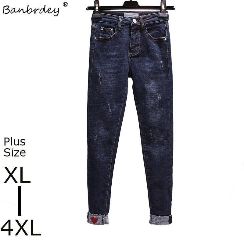 6e04fcab22c Compre Cintura Alta Elástica Tallas Grandes Jeans Mujer 2018 Primavera  Otoño Corazón Bordado Casual Lápiz Jeans Mujer XL 4XL Pantalones De  Mezclilla S1011 A ...