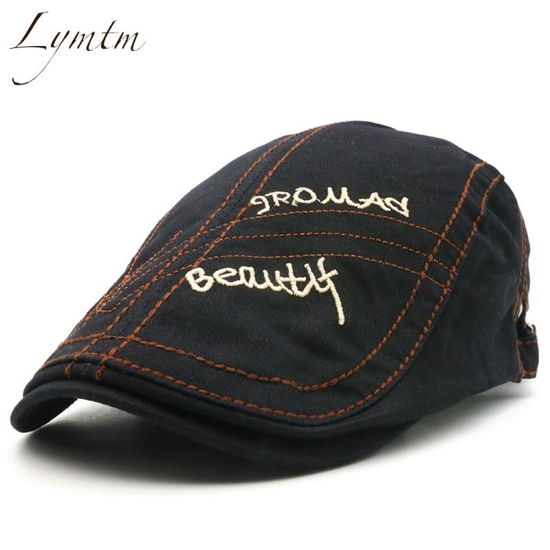 Lymtm Men Casual Letter Embroidery Skull Beret Male 2018 Summer ... 93341dba8fdf