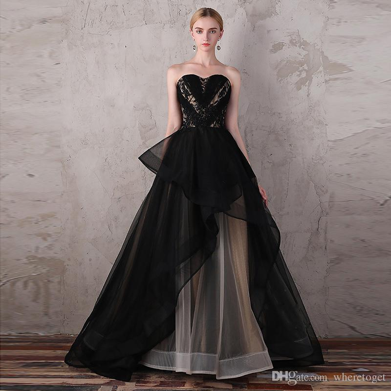2018 Black And Champagne Ball Gown Evening Dresses Plus