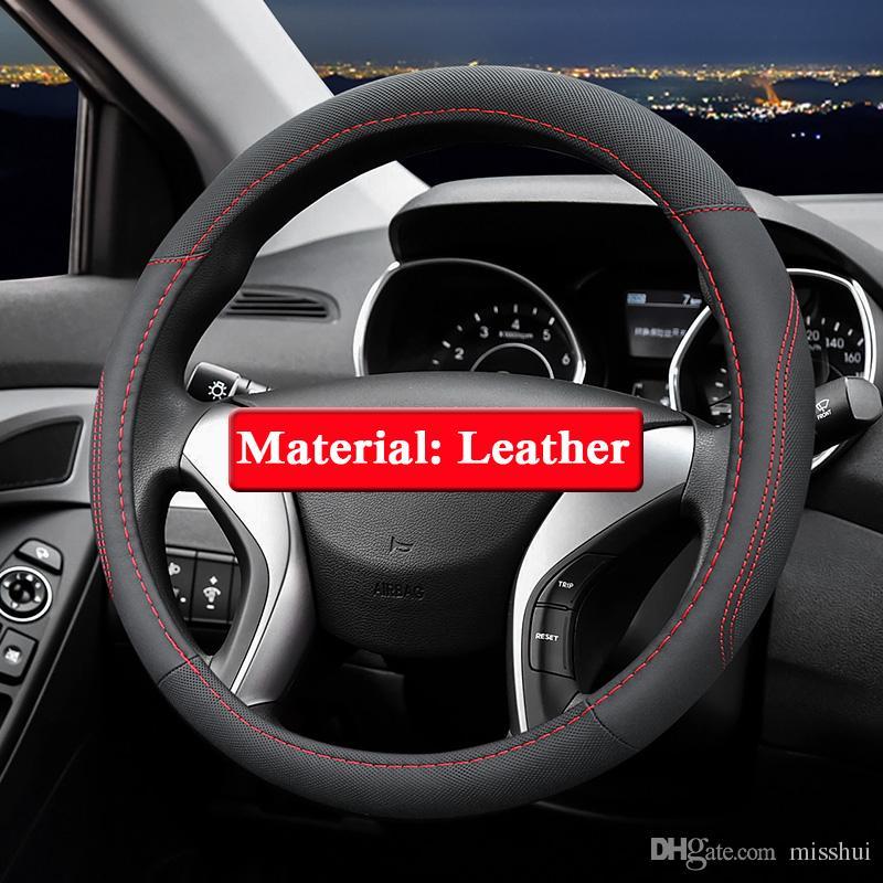 Hyundai IX25 IX35 Için QCBXYYXH Araba Styling IX45 Elantra 2016-2018 Direksiyon Kapakları Deri direksiyon simidi Kapağı İç aksesuar