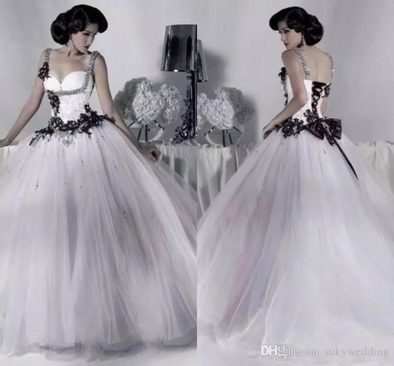compre vestidos de novia de tul blancos y negros vintage correa de
