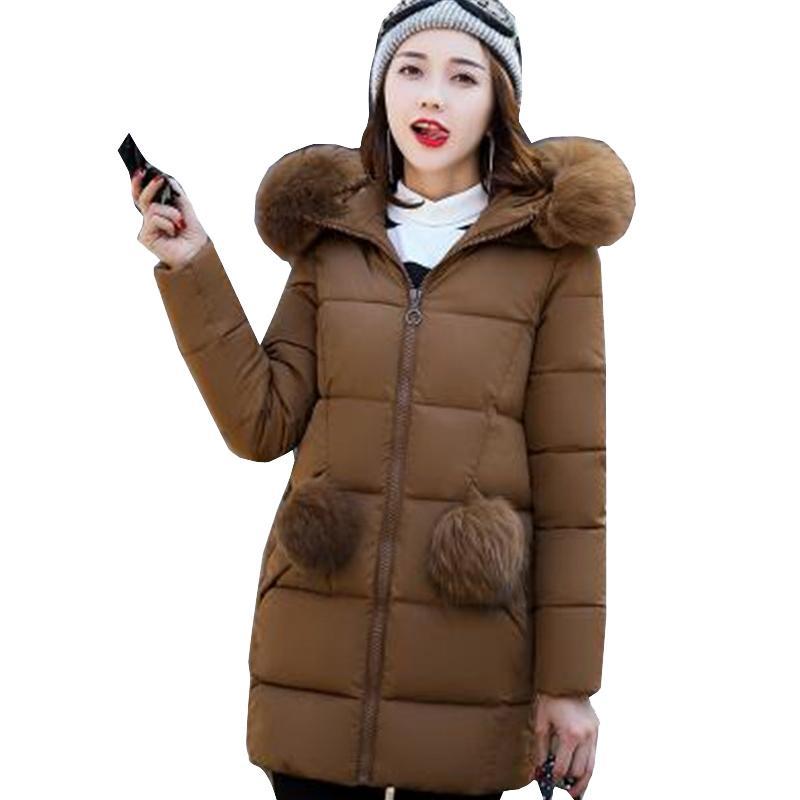 size 40 4f4f8 d33ce Winterjacke Frauen lange koreanische Winterjacken Parka Damen mit  Pelzkragen outwear warme Mäntel Womens Jacken gepolstert