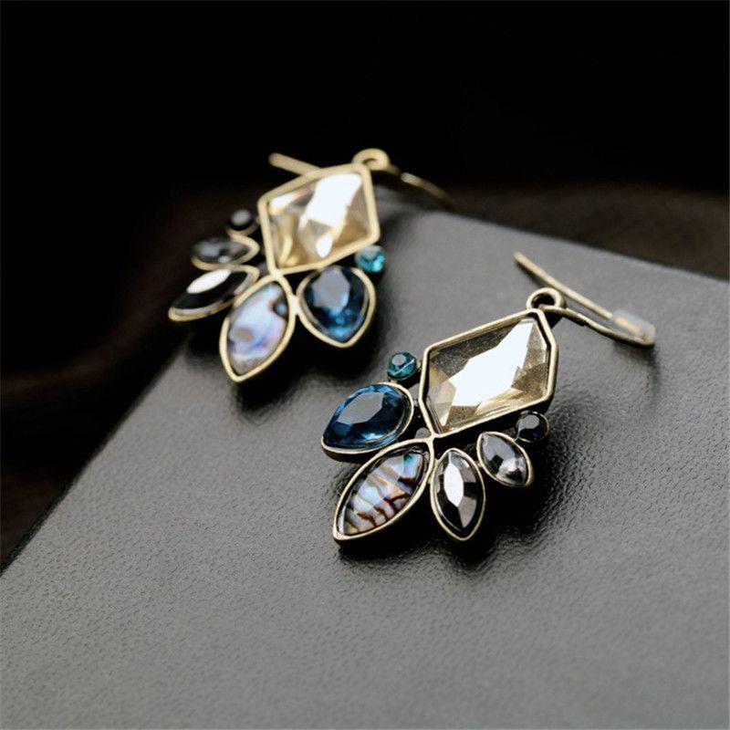 Harz Edelstein Antike Gold Farbe Tropfen Ohrringe Für Frauen Bunte Kristallblume Baumeln Ohrringe 2 Designs