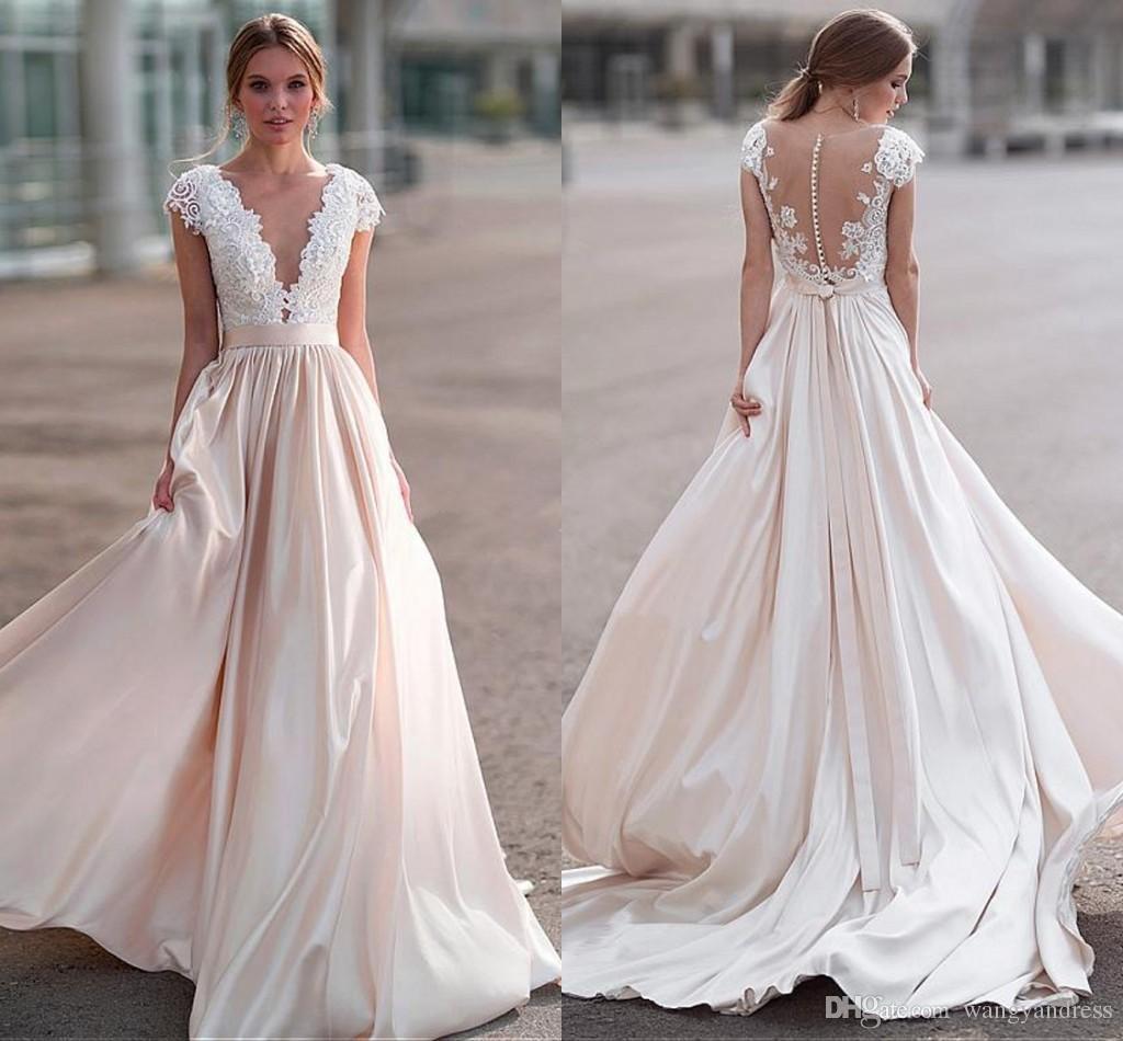 Discount Gorgeous Applique Lace Wedding Dresses With Illusion Deep V