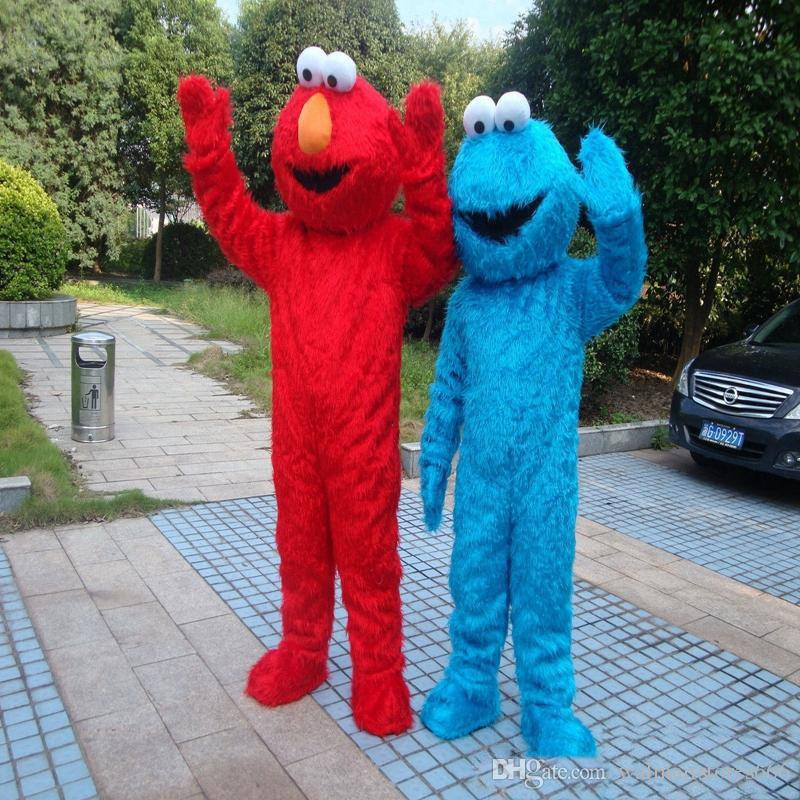 2018 Alta qualità Sesame Street Blue Cookie Mostro Mascotte blu Elmo costume Fancy Dress Formato adulto Halloween spedizione gratuita